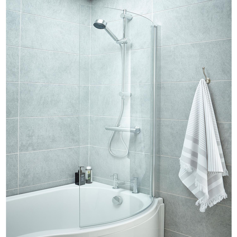 Premier B-Shaped Shower Bath Screen, 1435mm High x 850-870mm Wide, 6mm Glass
