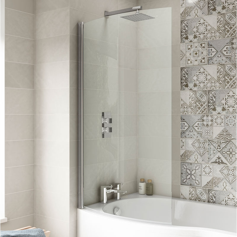 Premier B-Shaped Shower Bath Screen, 1435mm High x 850-870mm Wide, 6mm Glass