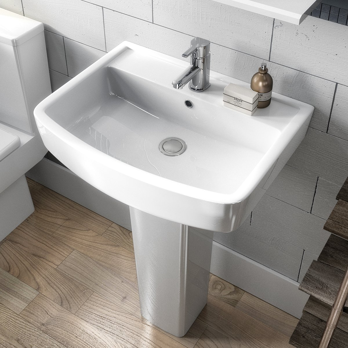 Premier Bliss Basin and Full Pedestal 520mm Wide 1 Tap Hole