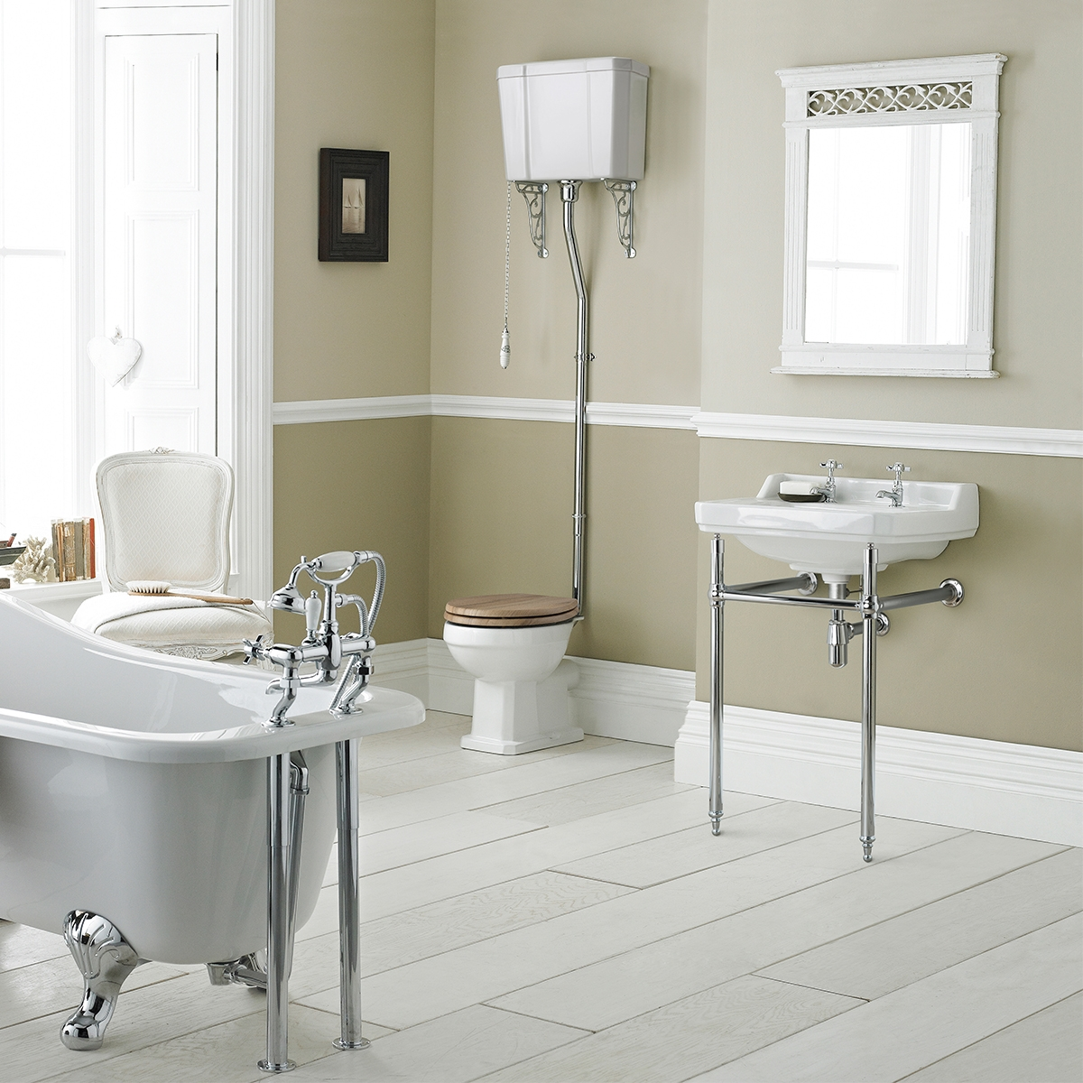 Premier Carlton High Level Toilet Pan and Cistern (excluding Flush Pipe, Pull Chain and Seat)