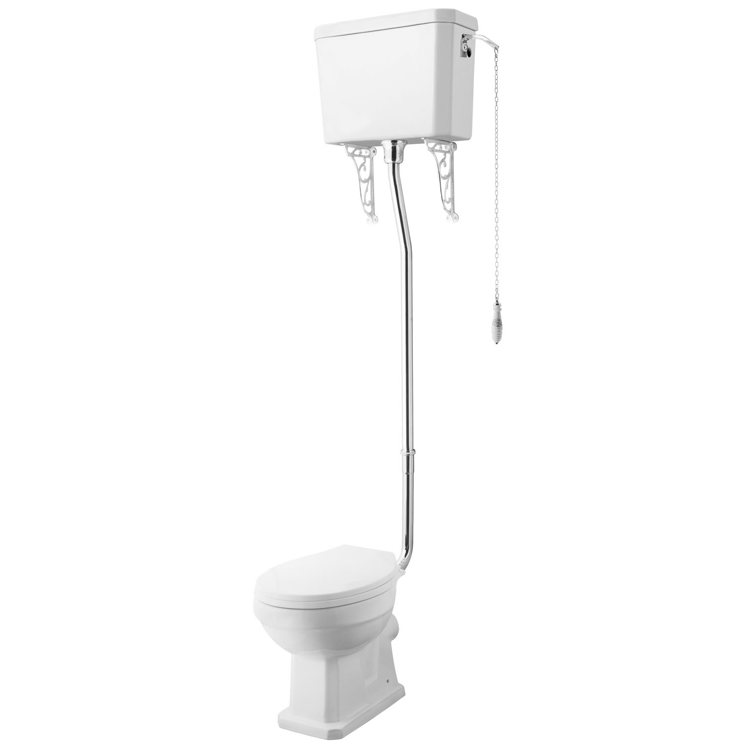 Premier Carlton High Level Toilet with Lever Cistern and Flushpipe - Excluding Seat