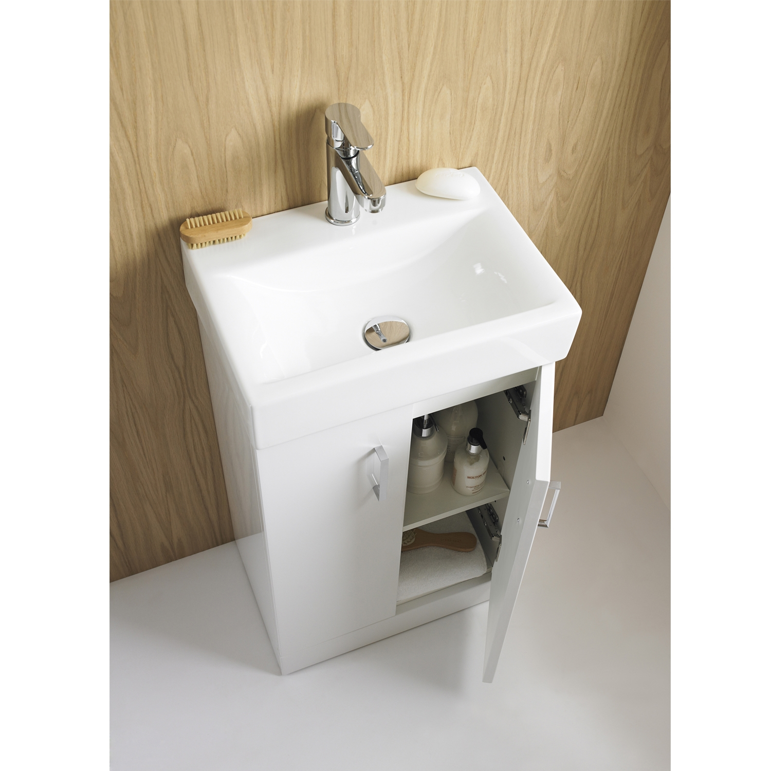 Premier Checkers White Wall Hung Vanity Unit with Basin 450mm Wide - 1 Tap Hole-0