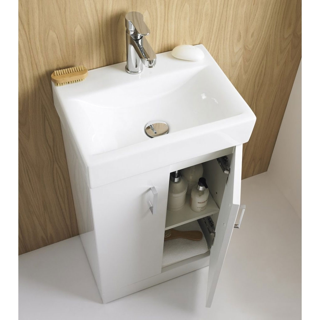 Premier Checkers White Wall Hung Vanity Unit with Basin 450mm Wide - 1 Tap Hole