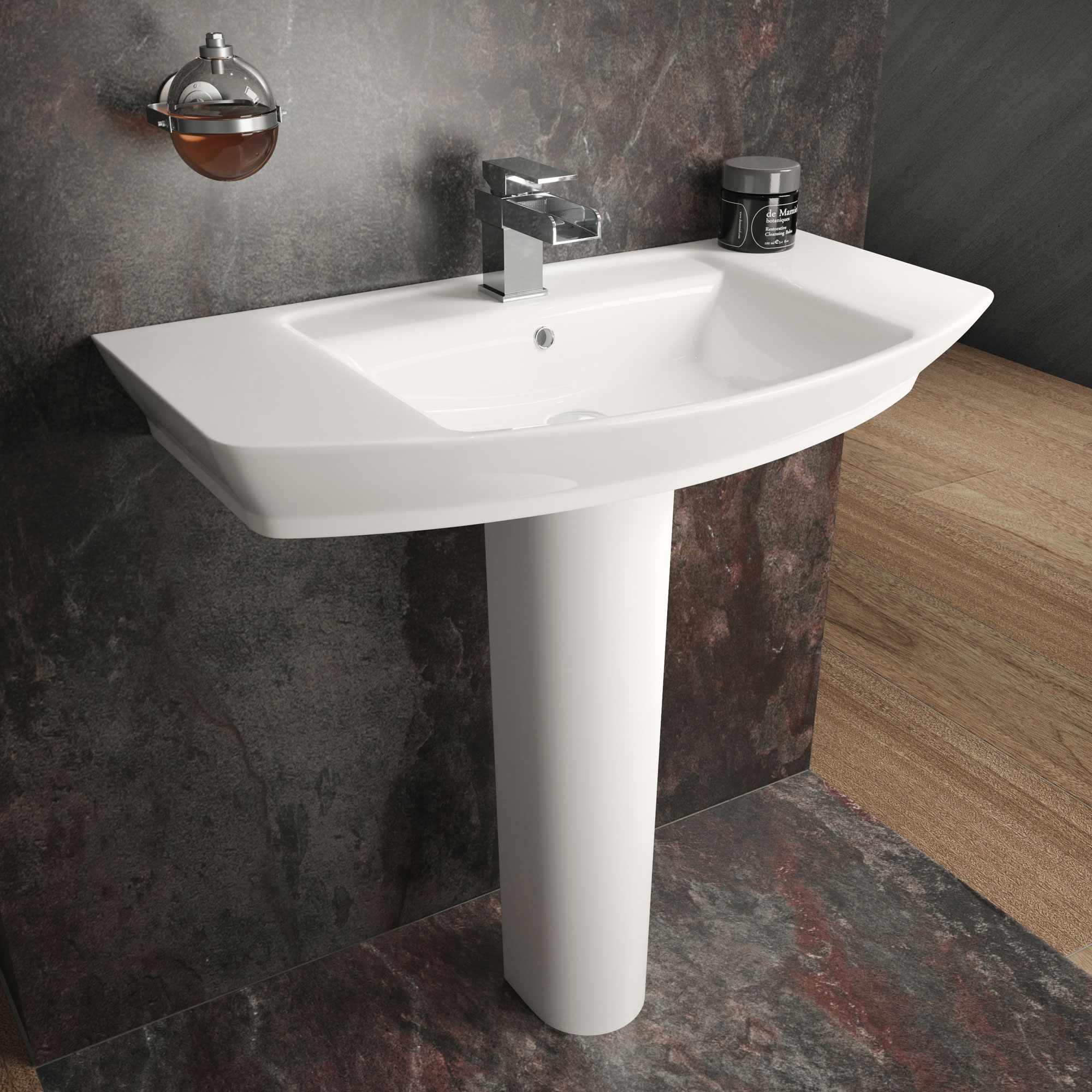 Premier Clara Basin with Full Pedestal 850mm Wide - 1 Tap Hole