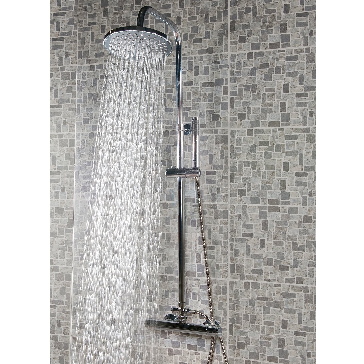 Premier Round Bar Mixer Shower with Shower Kit + Fixed Head-0