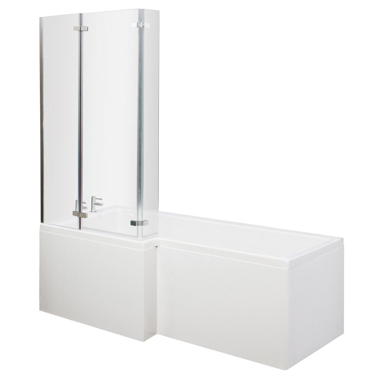 Premier Cove L-Shaped Shower Bath Panel Hinged Screen 1700mm x 700mm/850mm Left Handed-0