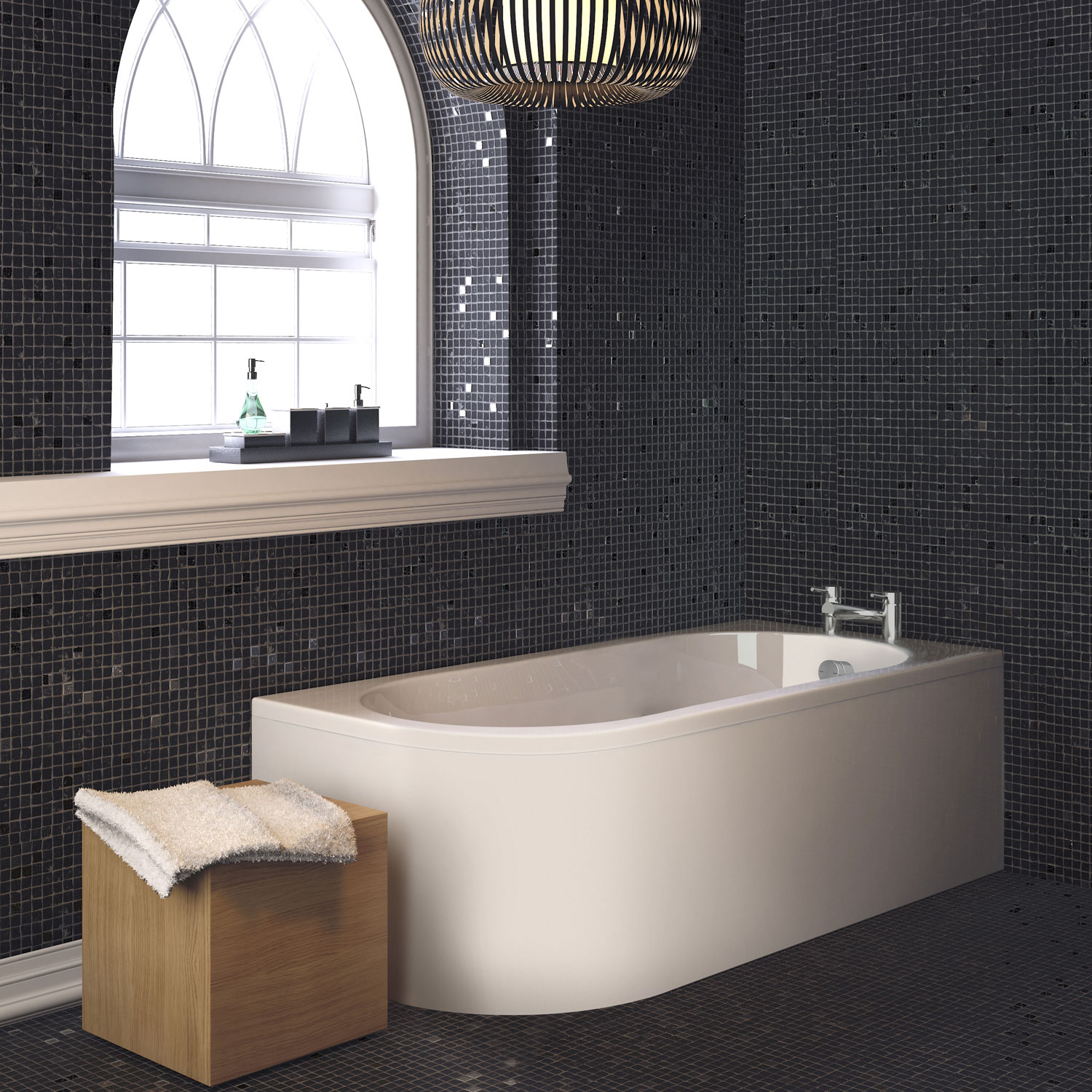 Premier Crescent Back to Wall Single Ended Bath and Panel 1700 x 725 Right Handed-0