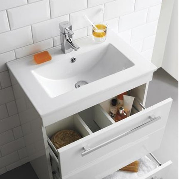 Premier Design Wall Mounted 1-Drawer Bathroom Vanity Unit 594mm Wide - High Gloss White 1 Tap Hole