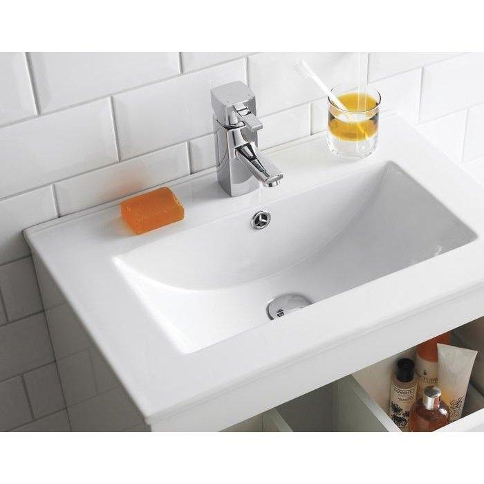 Premier Eden Floor Standing 2-Door Bathroom Vanity Unit with Minimalist Basin 600mm W - Gloss White