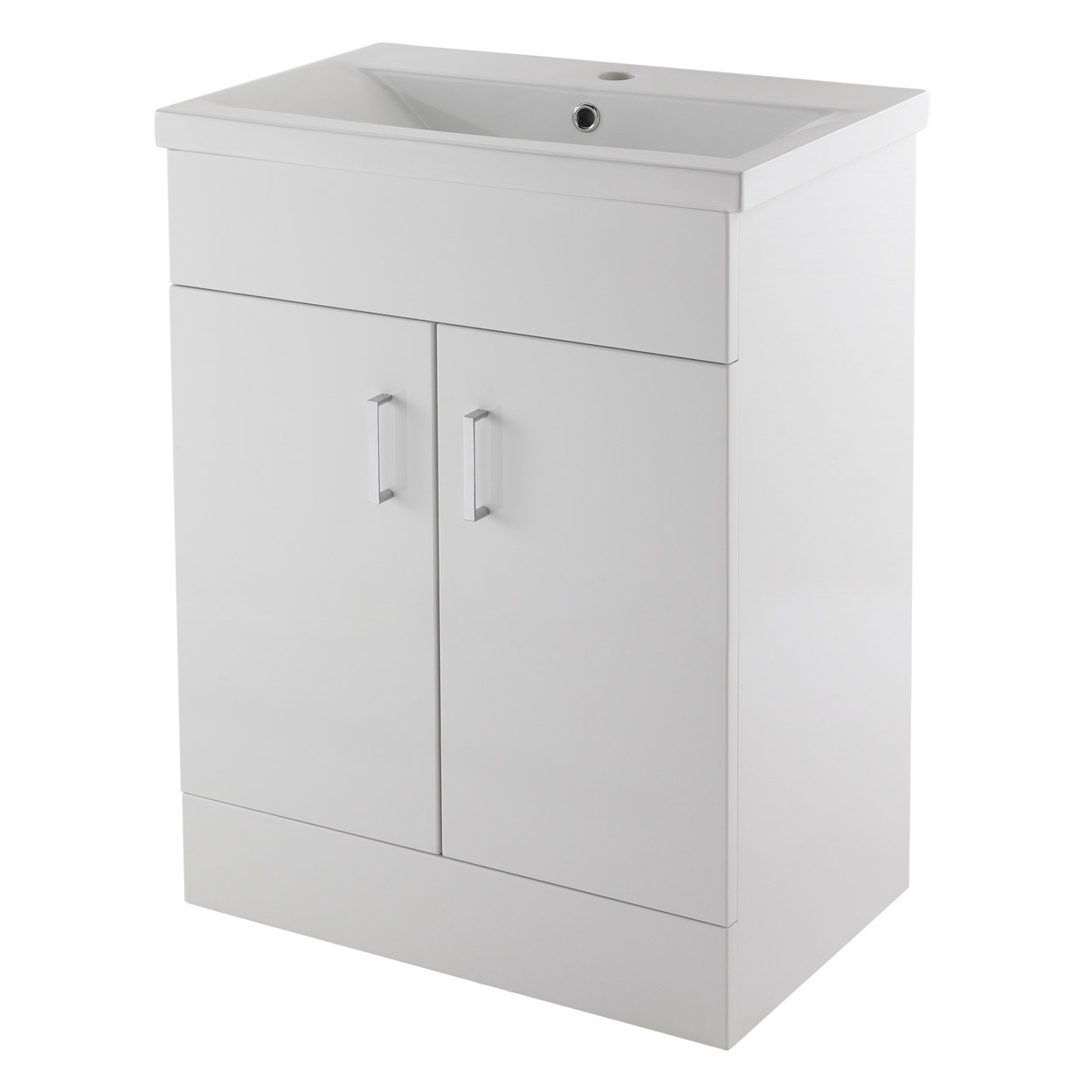 Premier Eden Floor Standing 2-Door Vanity Unit and Basin 1 Gloss White - 600mm Wide