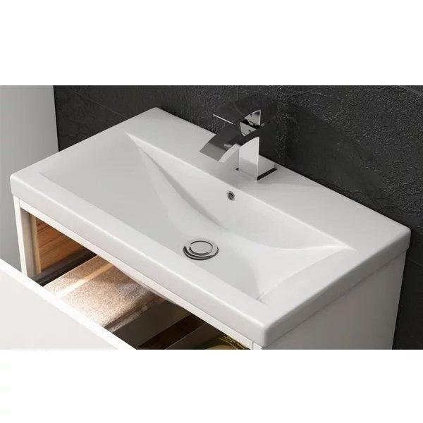 Premier Eden Floor Standing 2-Door Vanity Unit with Mid-Edge Basin - 600mm Wide - Gloss White