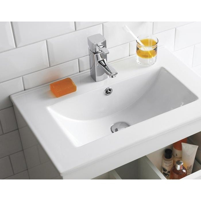 Premier Eden Wall Hung Bathroom Vanity Unit with Minimalist Basin 800mm Wide - Gloss White