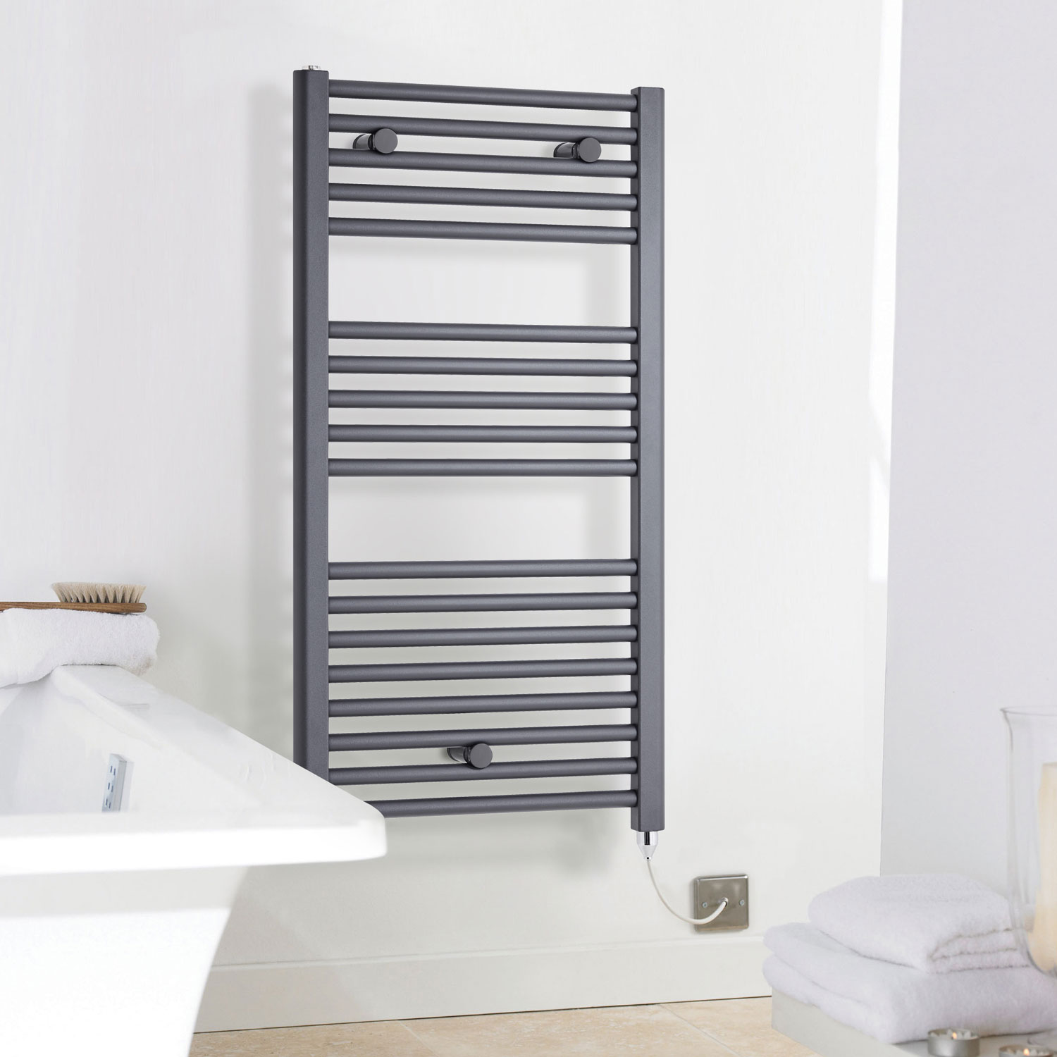 Premier Electric Heated Towel Rail 720mm H x 400mm W Anthracite