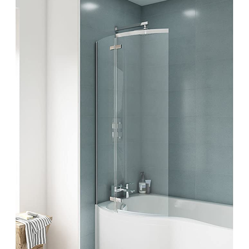 Premier Ella P-Shaped Shower Bath Screen, 1400mm High x 740mm Wide, 5mm Glass