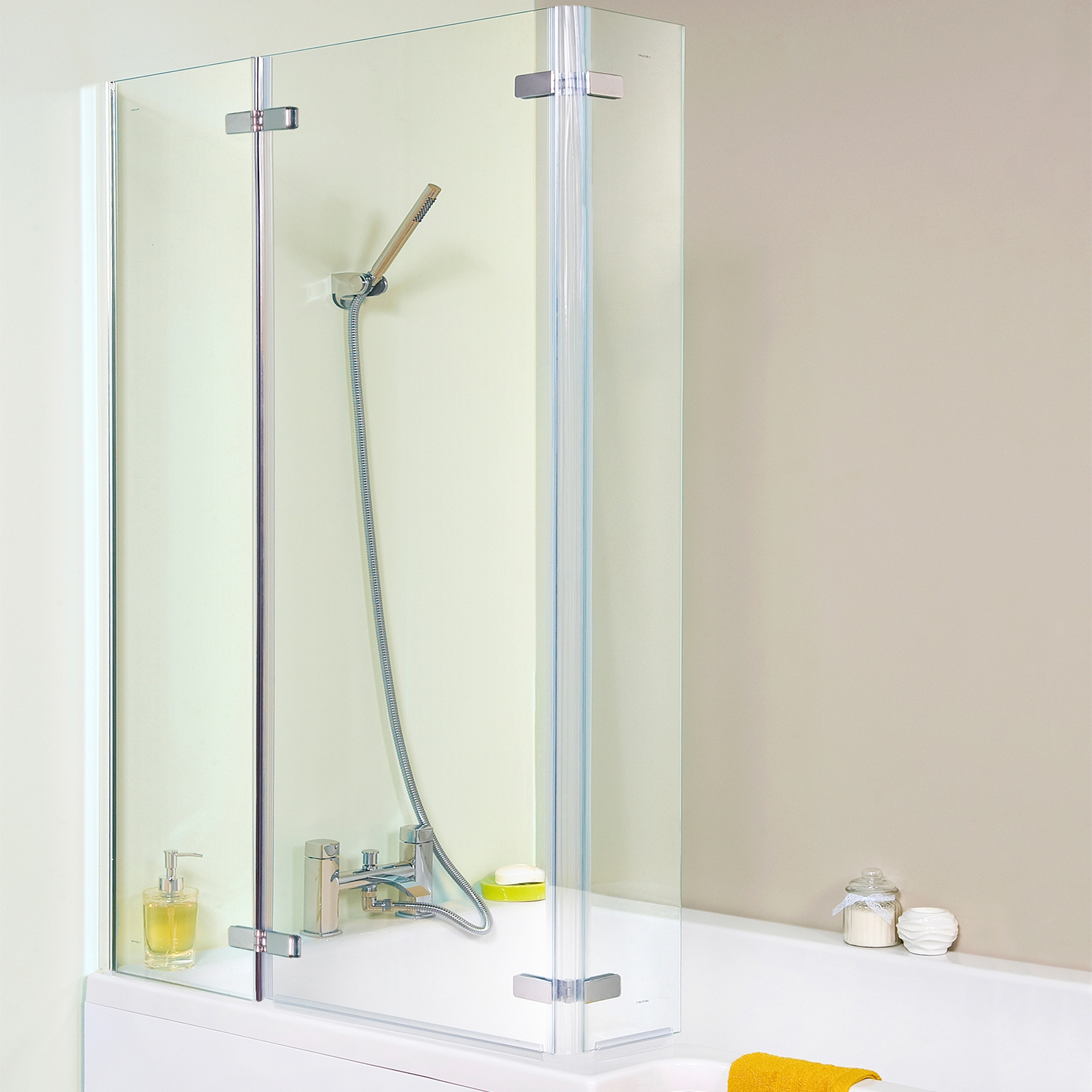 Premier Ella Square Shower Bath Screen, 1400mm High x 810mm Wide, 5mm Glass