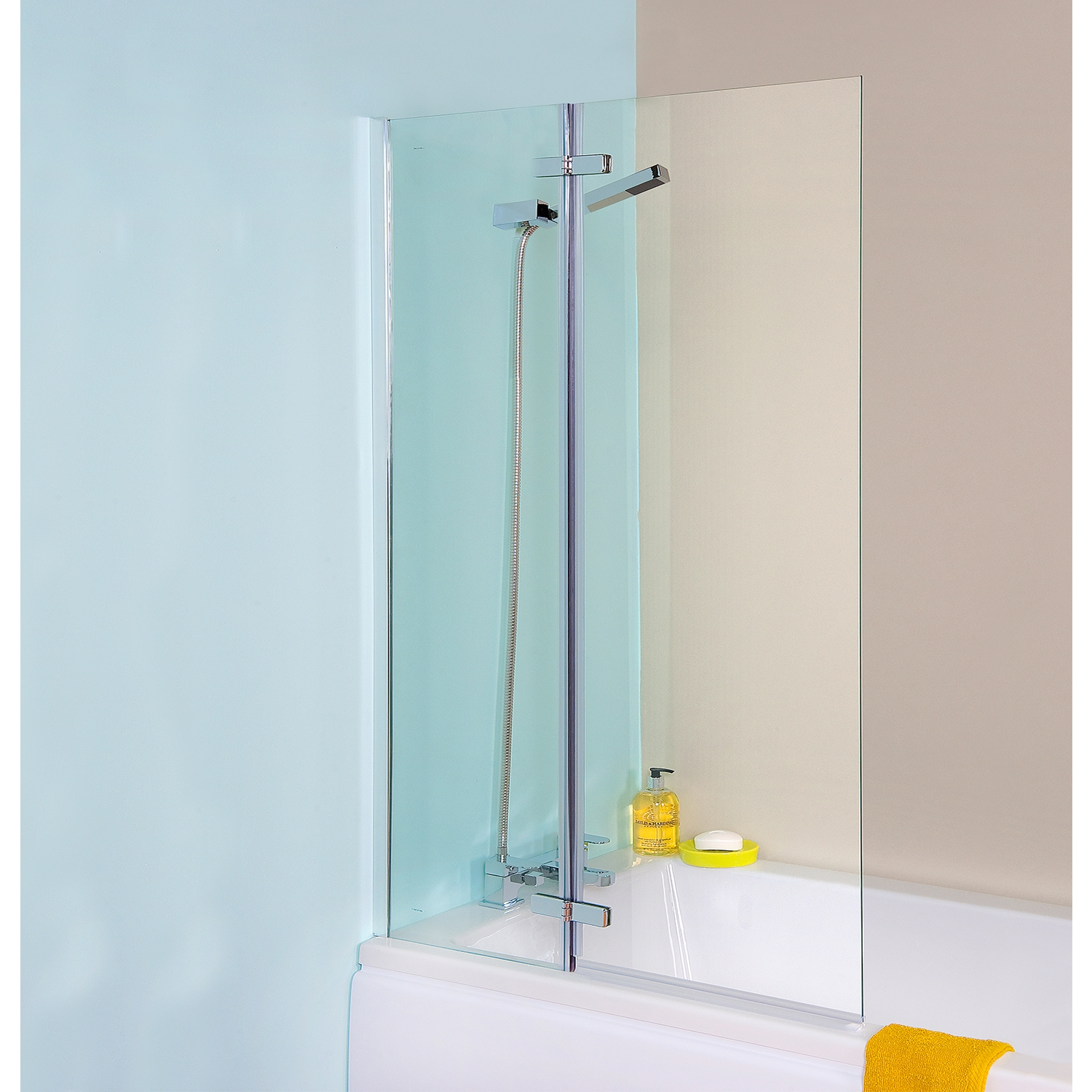 Premier Ella Straight Hinged Bath Screen, 1400mm High x 745mm Wide, 5mm Glass