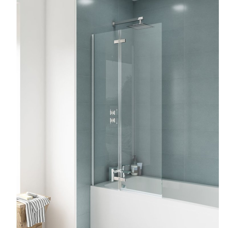 Premier Ella Straight Hinged Bath Screen, 1400mm High x 745mm Wide, 5mm Glass-0