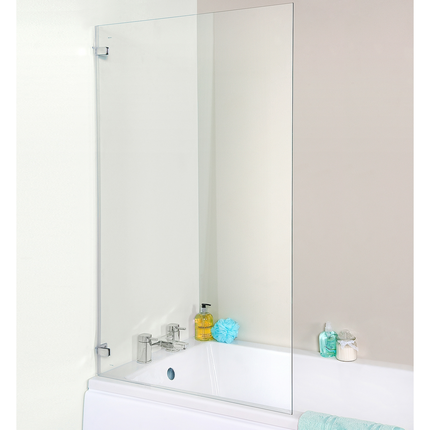 Premier Ella Square Hinged Bath Screen, 1410mm High x 782mm Wide, 5mm Glass