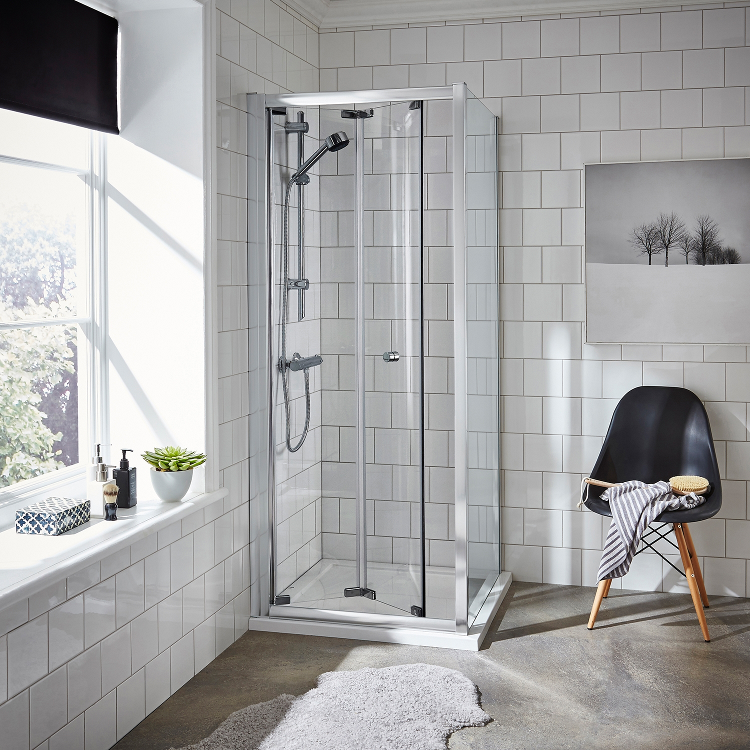 Premier Ella Bi-Fold Shower Door 800mm Wide - 5mm Glass