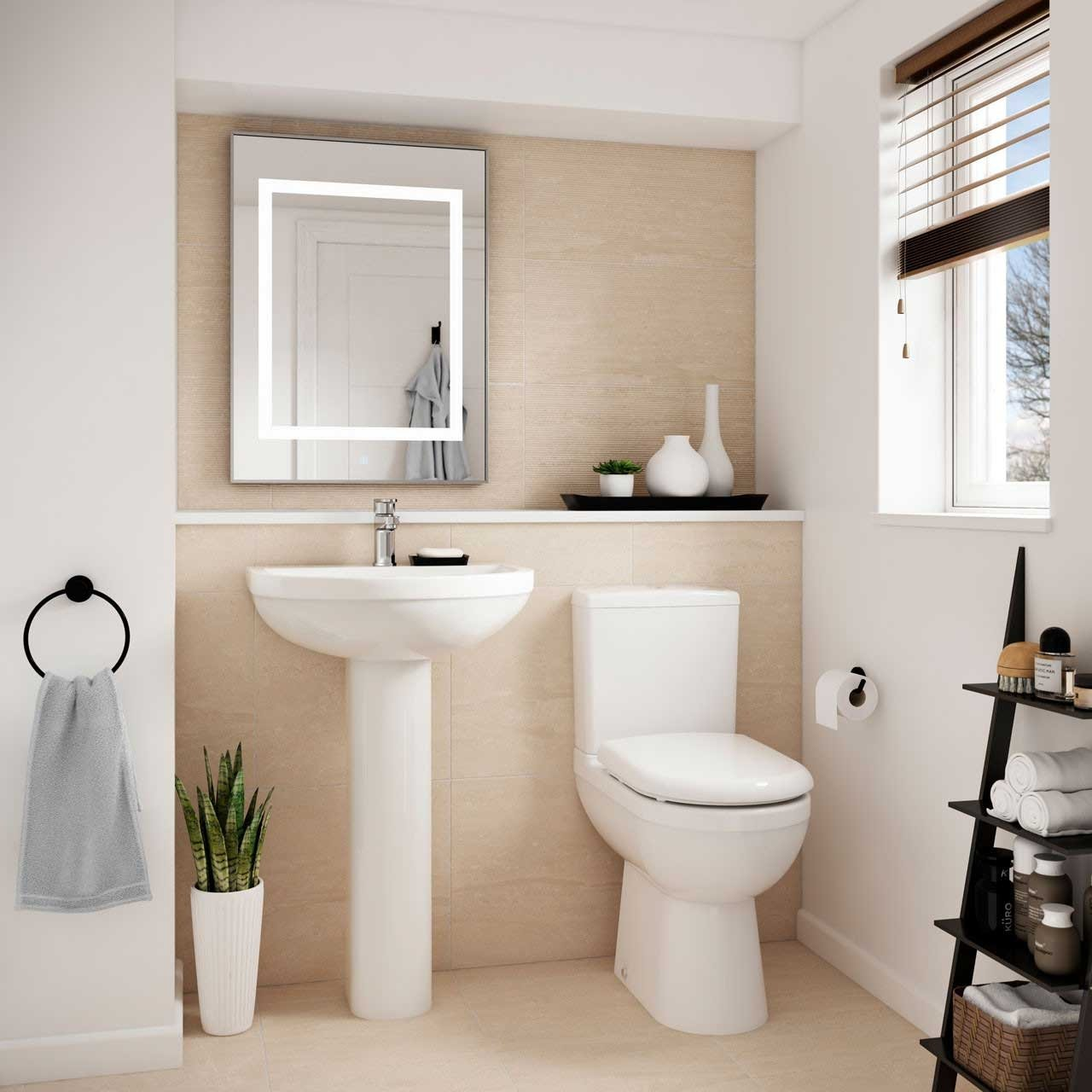 Premier Ivo Basin and Full Pedestal 555mm Wide - 1 Tap Hole