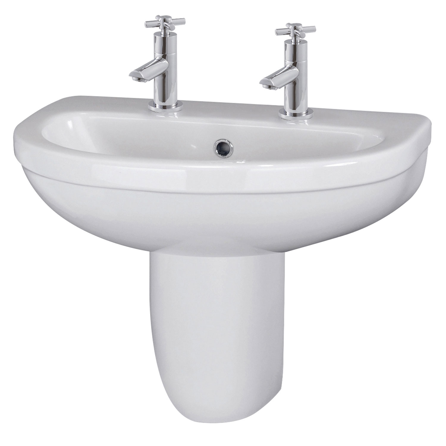 Premier Ivo Basin and Semi Pedestal 555mm Wide - 2 Tap Hole