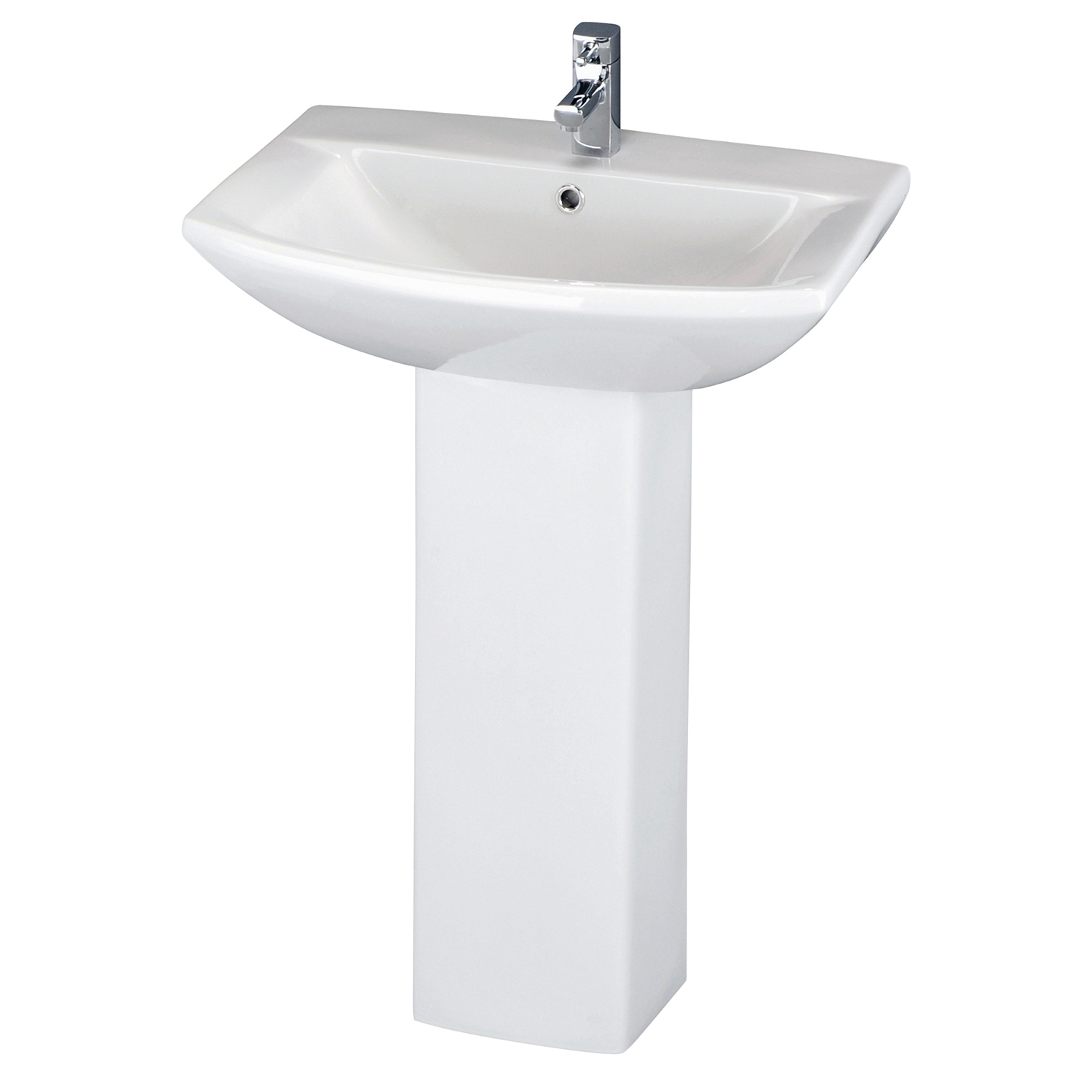 Premier Knedlington Basin and Full Pedestal 600mm Wide - 1 Tap Hole-0