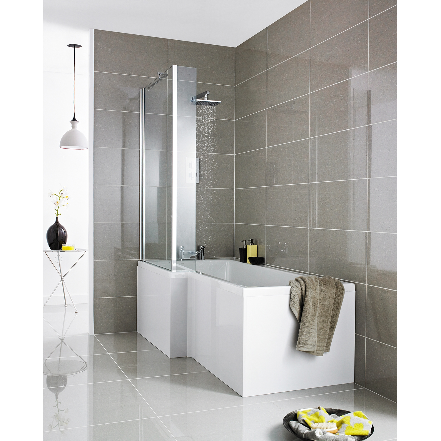 Premier Square L-Shaped Shower Bath 1500mm x 700mm/850mm Left Handed-0