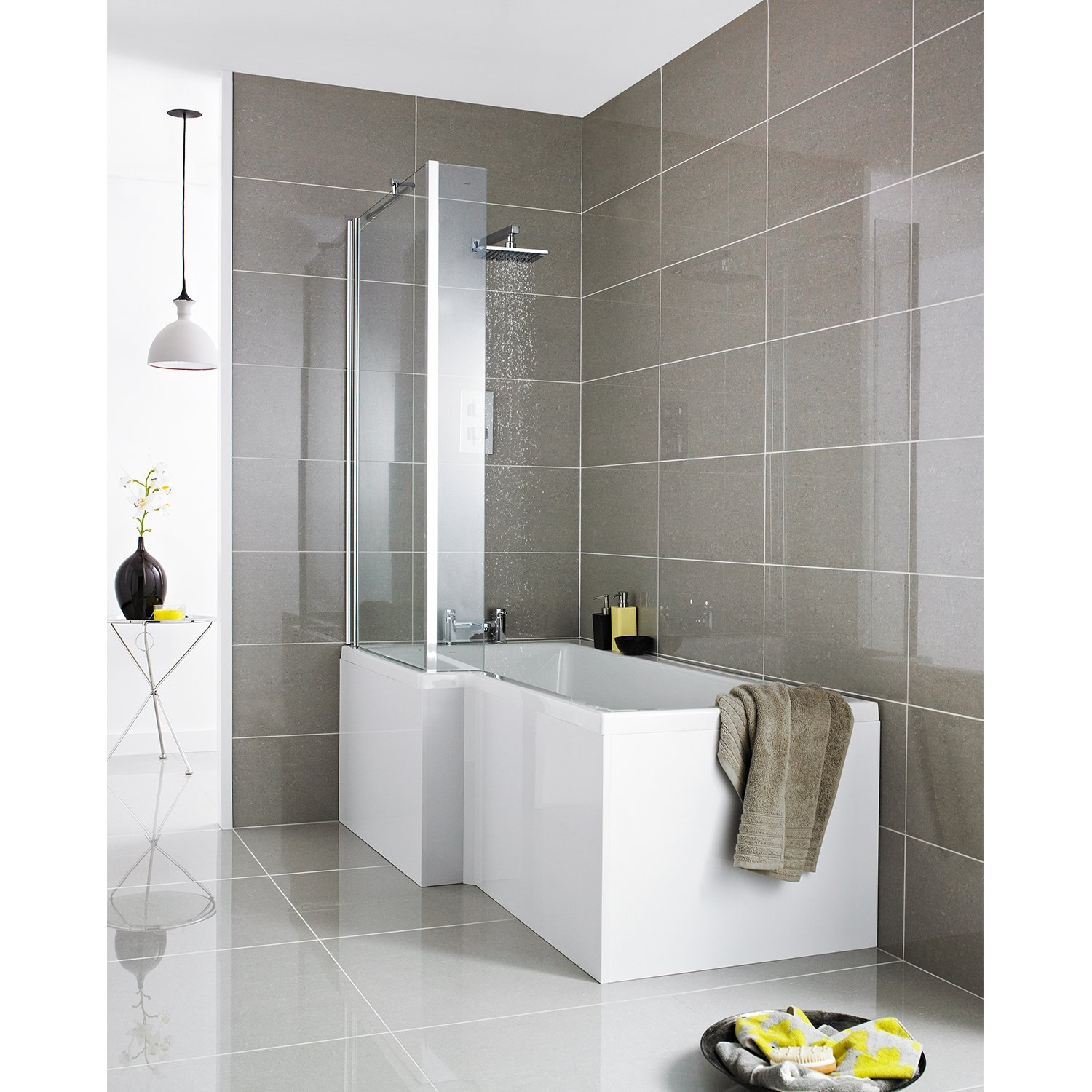 Premier Square L-Shaped Shower Bath 1500mm x 700mm/850mm Left Handed