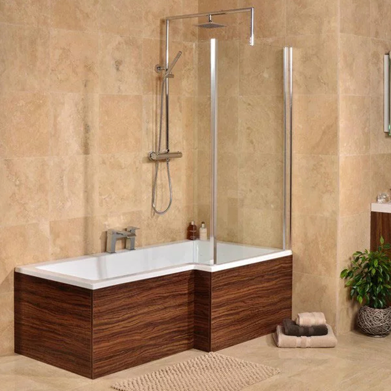 Premier Square L-Shaped Shower Bath 1700mm x 700mm/850mm Right Handed