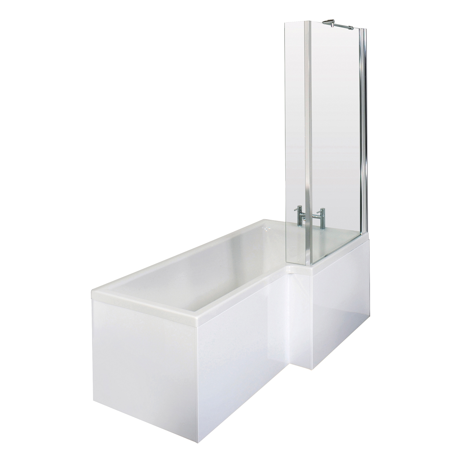 Premier Square L-Shaped Shower Bath with Front Panel and Screen 1700mm x 700mm/850mm Right Handed