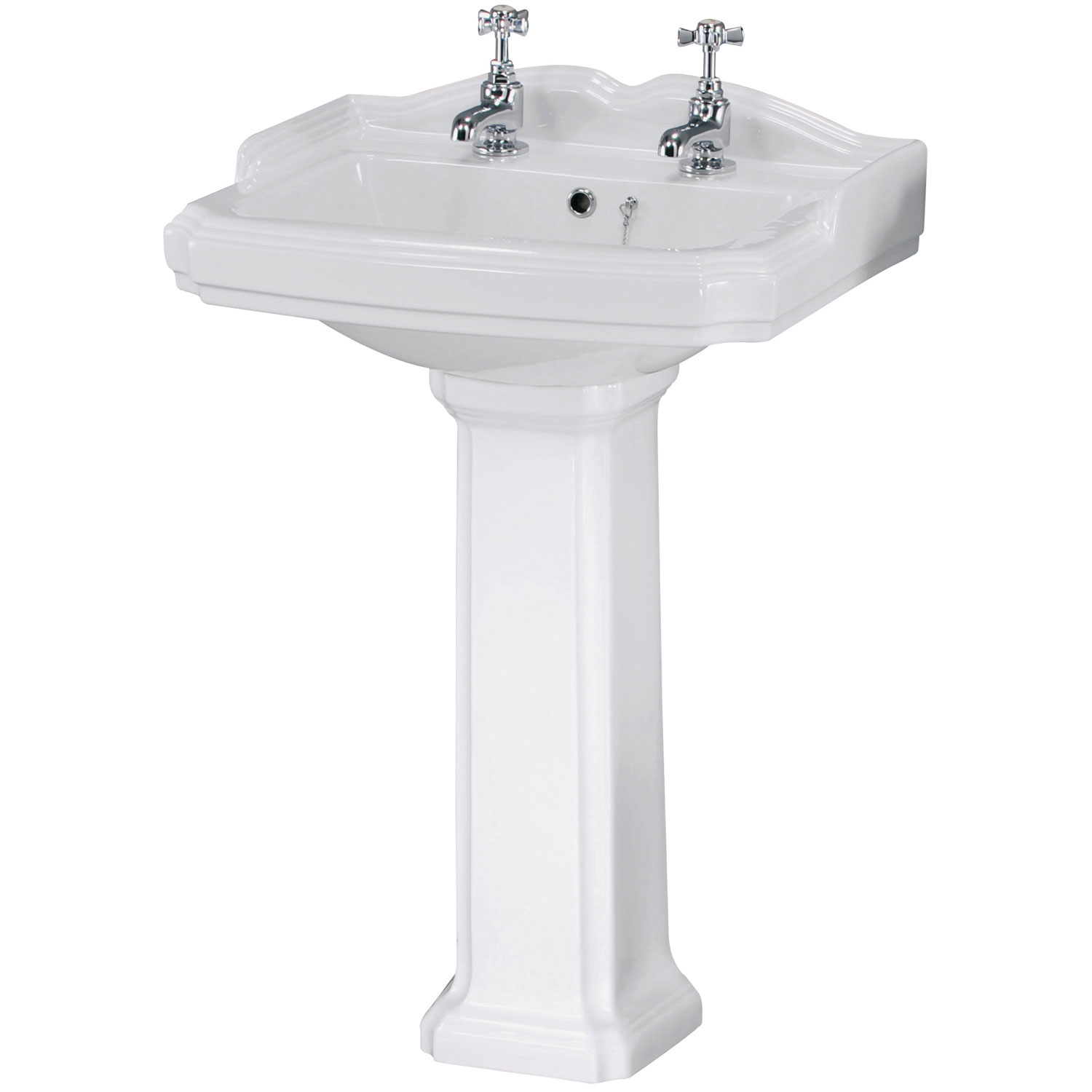 Premier Legend Basin and Full Pedestal 580mm Wide - 2 Tap Hole-1