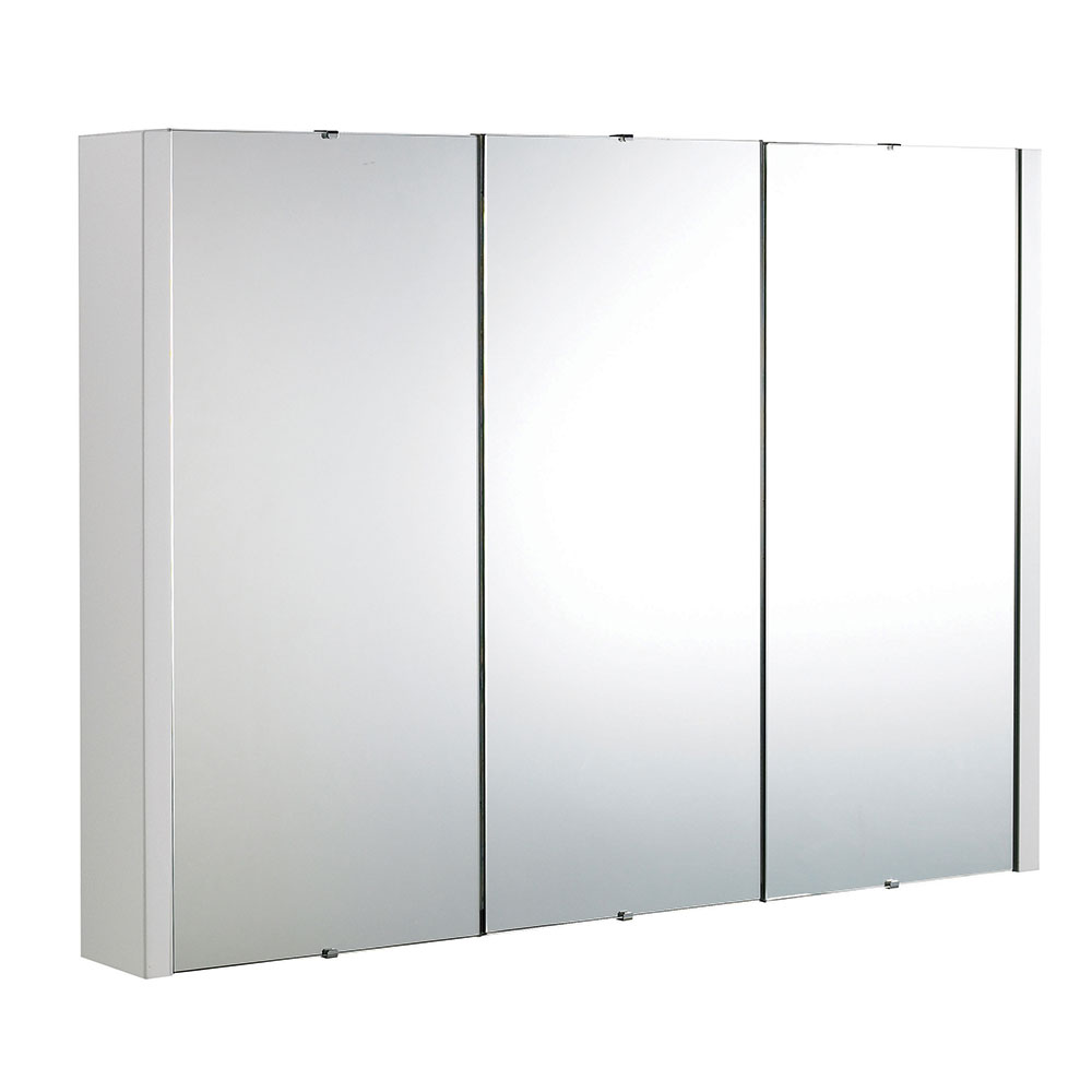 Premier Lux 3 Door Mirrored Bathroom Cabinet 900mm Wide White