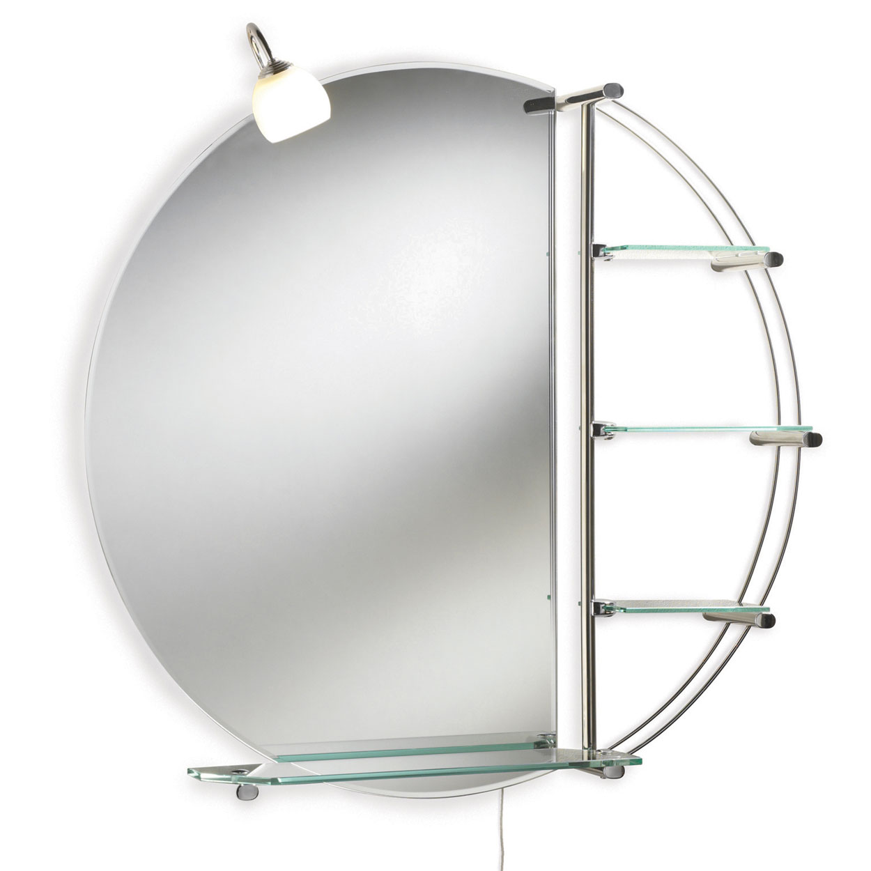 Premier Magnum Bathroom Mirror with Shelf, 800mm High x 800mm Wide, Stainless Steel-0
