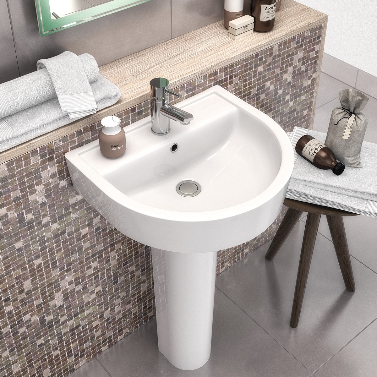 Premier Marlow Basin and Full Pedestal 425mm Wide - 1 Tap Hole