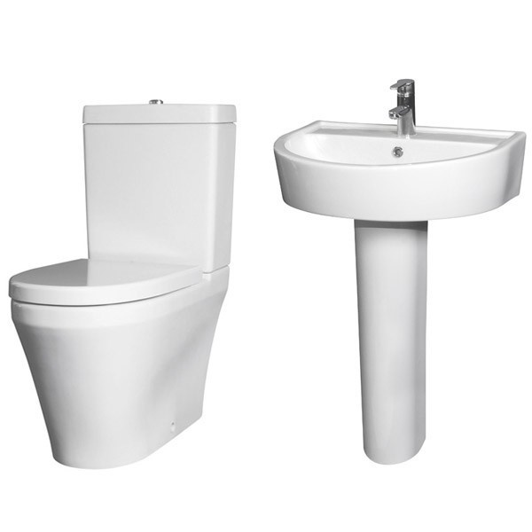 Premier Marlow Bathroom Suite Close Coupled Toilet 1 Tap Hole Basin
