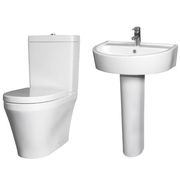 Premier Marlow Bathroom Suite Close Coupled Toilet 1 Tap Hole Basin-0