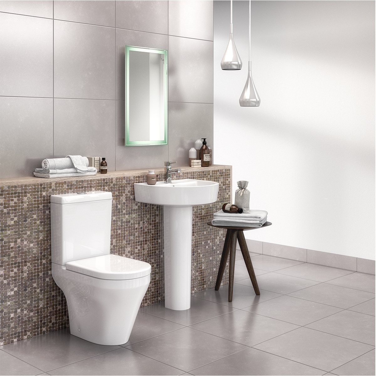 Premier Marlow Flush-Fit Close Coupled Toilet WC Push Button Cistern - Excluding Seat
