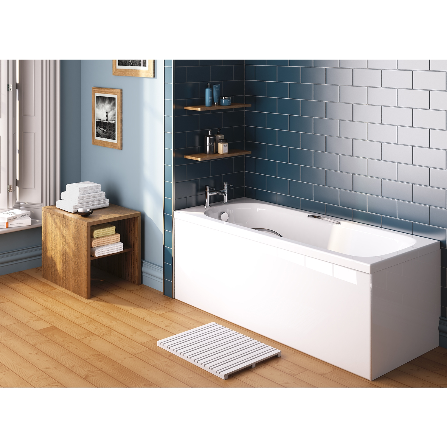 Premier Marshall Rectangular Bath with Grips 1600mm x 700mm 4mm - Acrylic-1