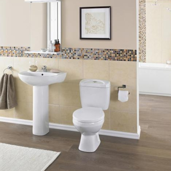 Premier Melbourne Close Coupled Toilet with Push Button Cistern - Standard Seat-0