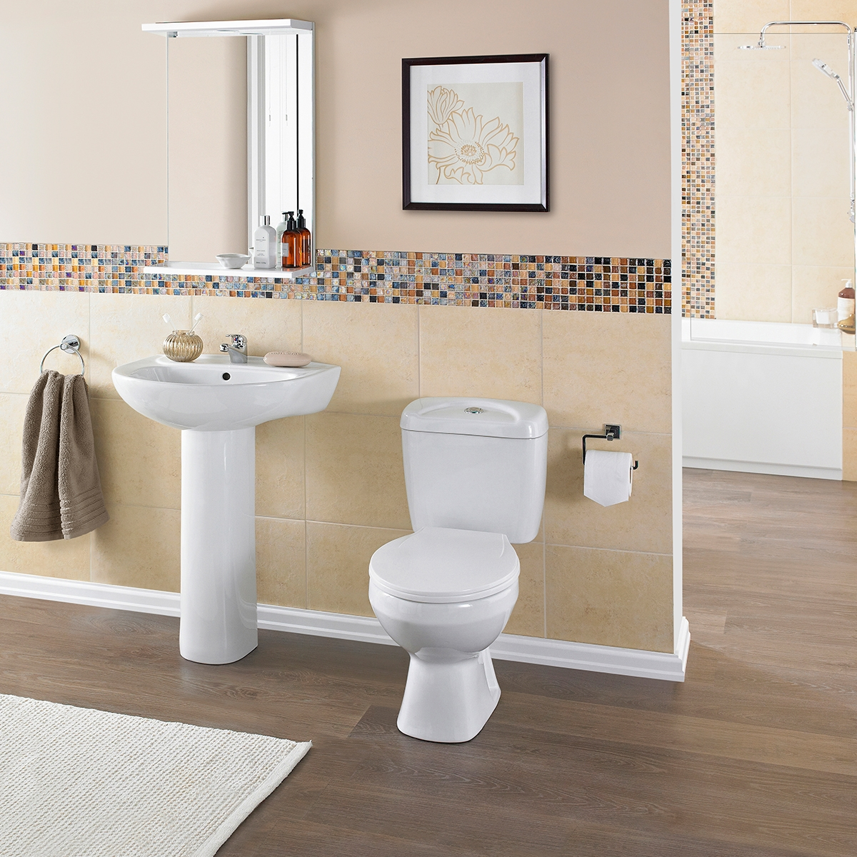 Premier Melbourne Close Coupled Toilet with Push Button Cistern - Standard Seat