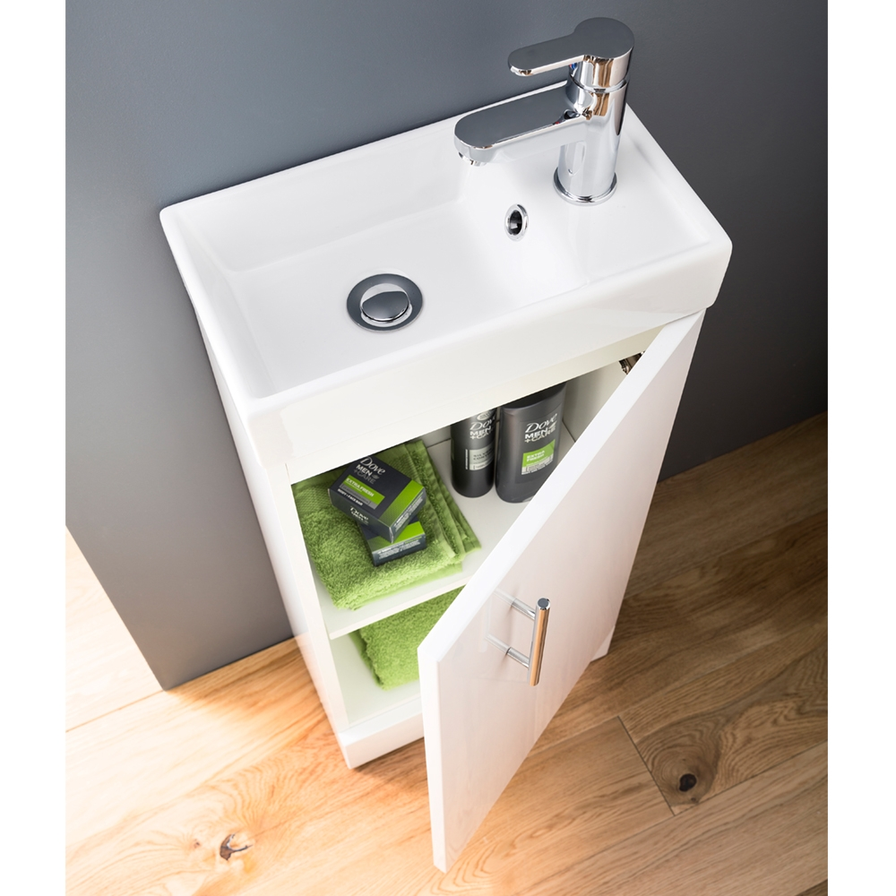 Premier Minimalist Compact Wall Hung Vanity Unit with Basin 400mm Wide - Gloss White 1 Tap Hole