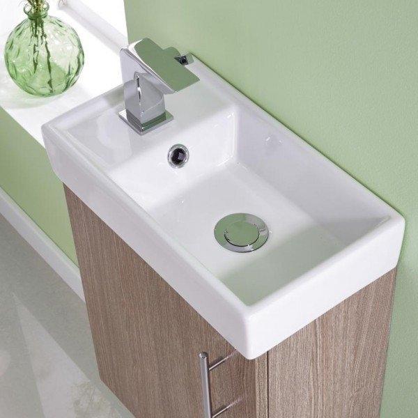 Premier Minimalist Compact Floor Standing Vanity Unit with Basin 400mm Wide - Light Oak 1 Tap Hole