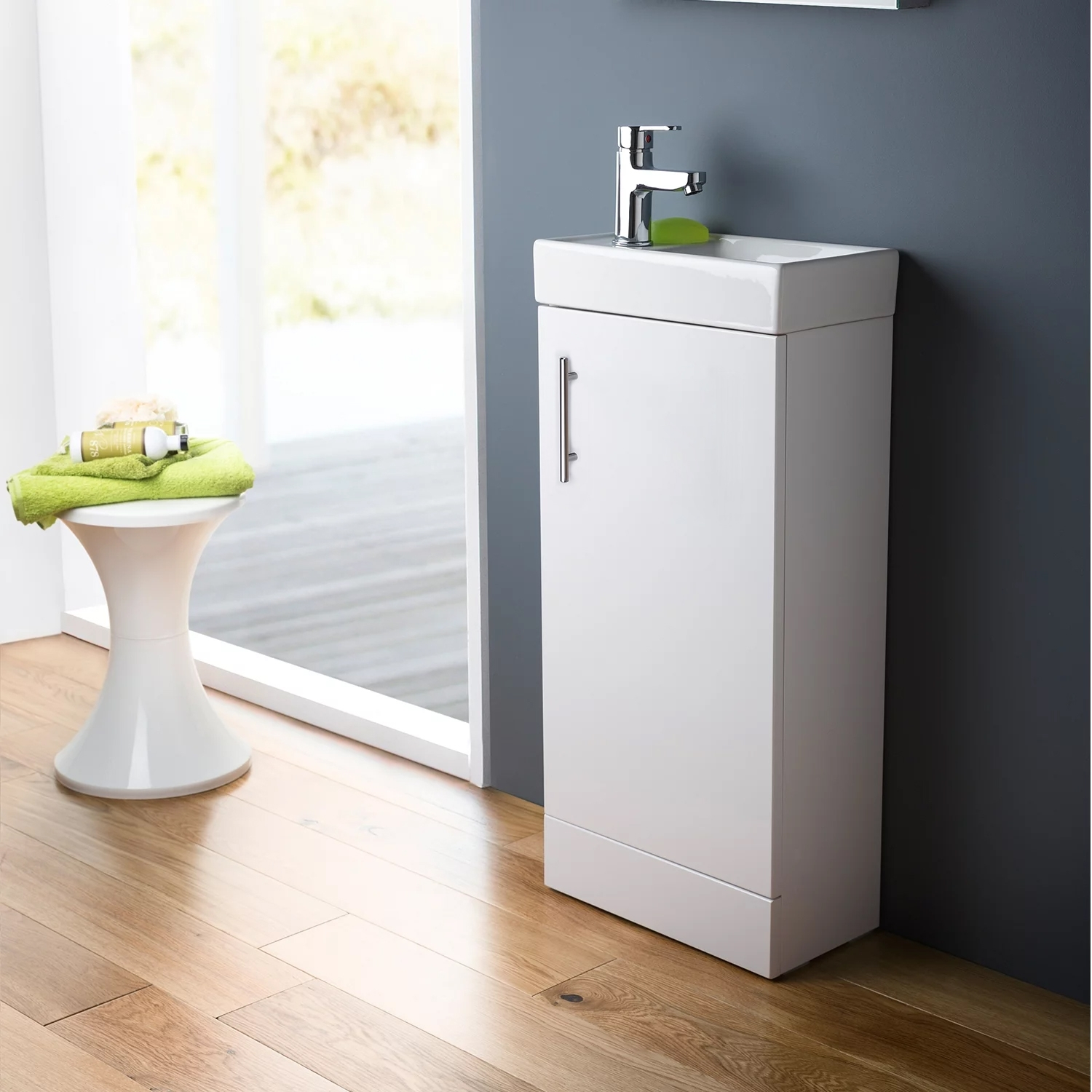Premier Minimalist Compact Floor Standing Vanity Unit with Basin - 500mm Wide - Gloss White
