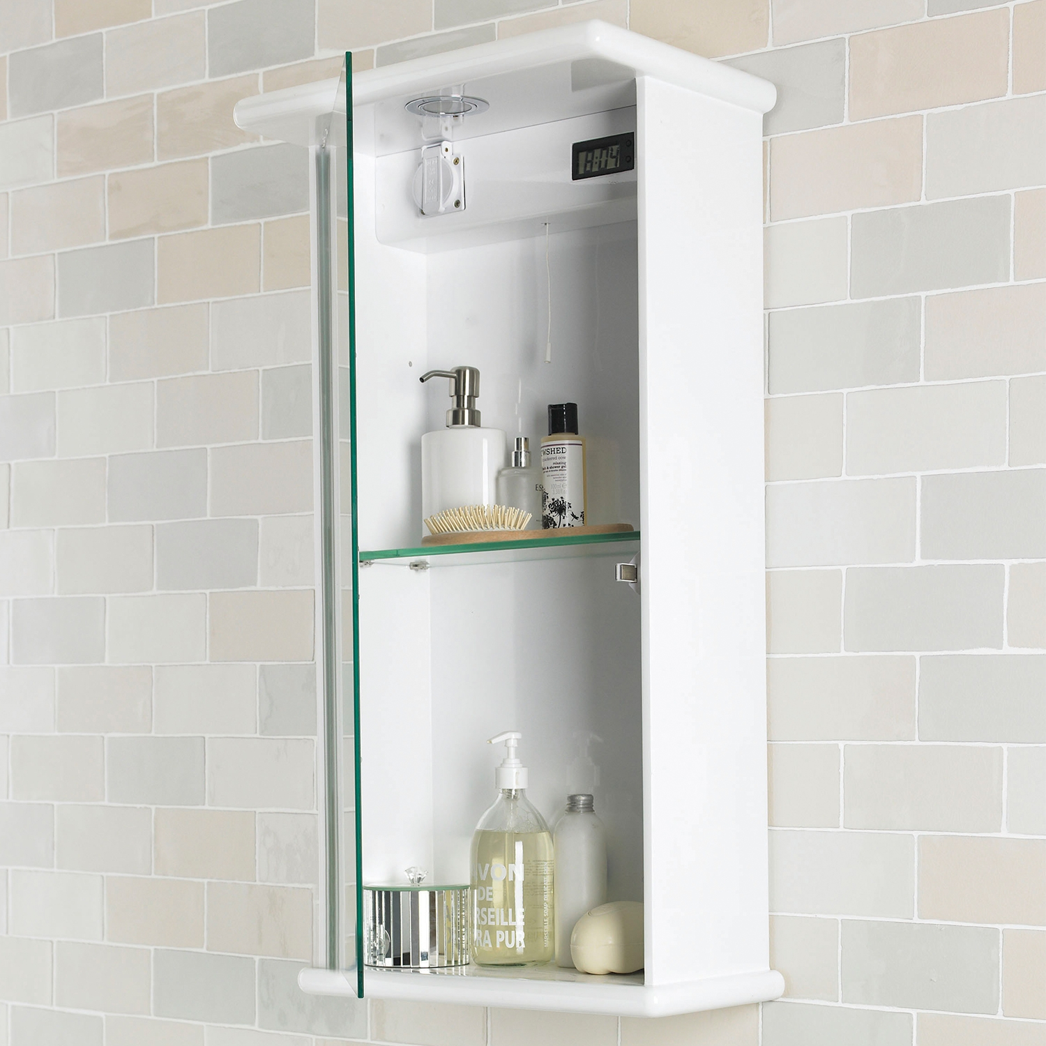 Premier Niche Mirrored Cabinet 800mm H x 400mm W White