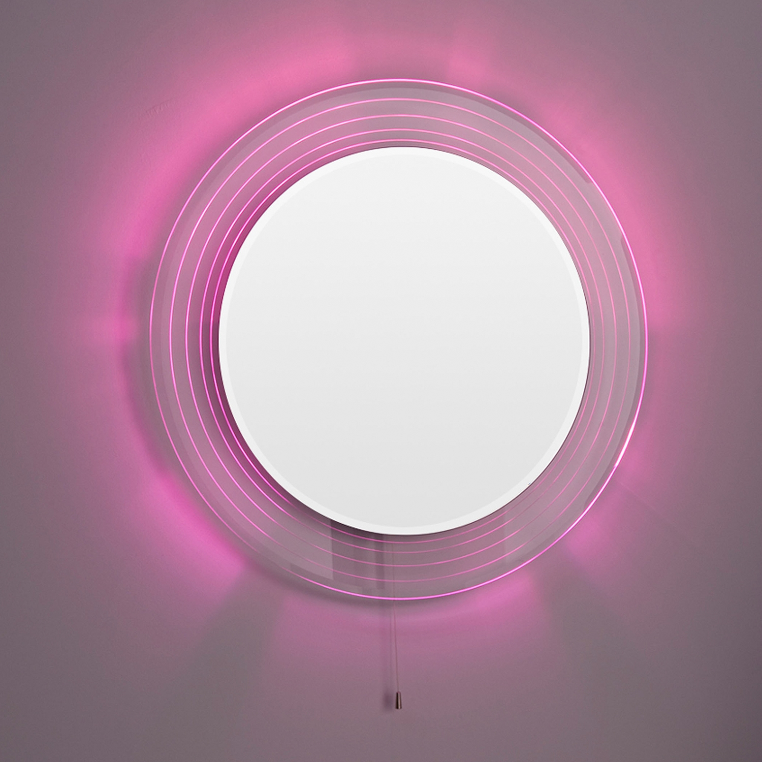 Premier Orpheus Colour Changing Bathroom Mirror, 600mm Diameter, Stainless Steel-2