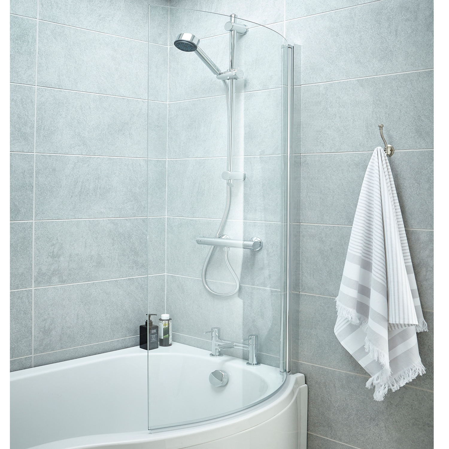 Premier P-Shaped Shower Bath Screen, 1435mm High x 720mm Wide, 6mm Glass-0