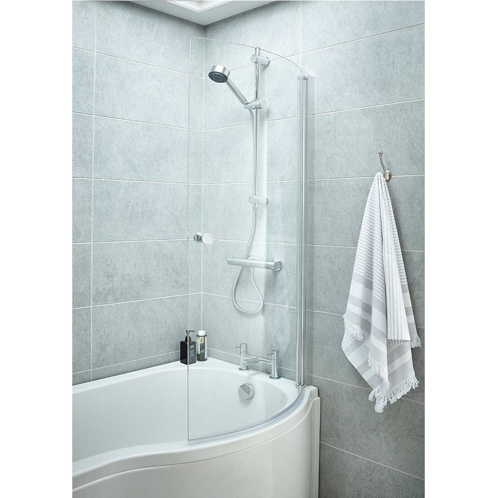 Premier P-Shaped Shower Bath Screen with Knob, 1435mm High x 720mm Wide, 6mm Glass-0
