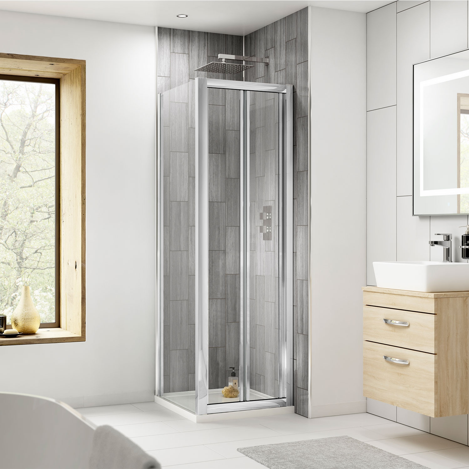 Premier Pacific Bi-Fold Shower Door 900mm Wide - 4mm Glass-2