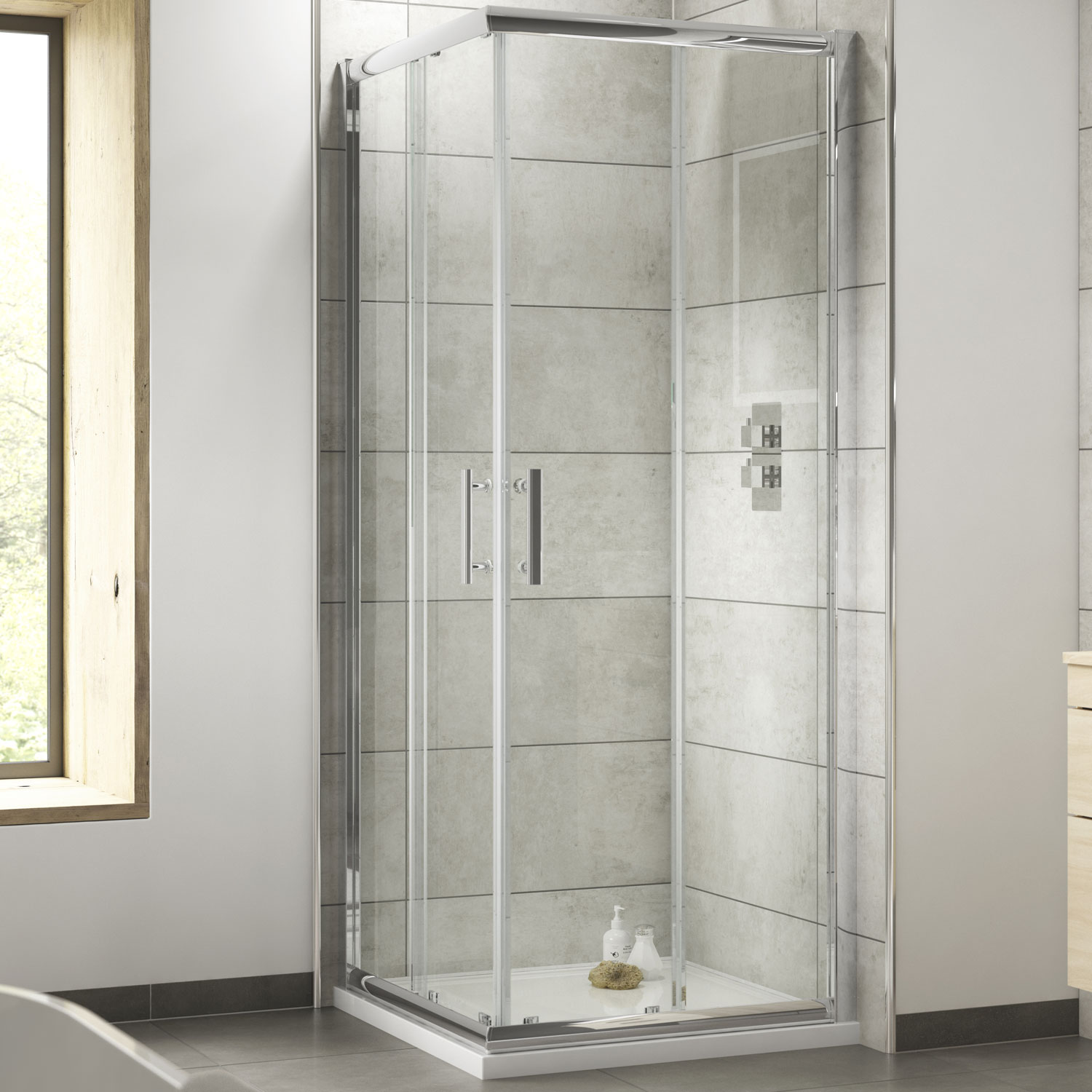 Premier Pacific Corner Entry Shower Enclosure 760mm x 760mm - 6mm Glass-1