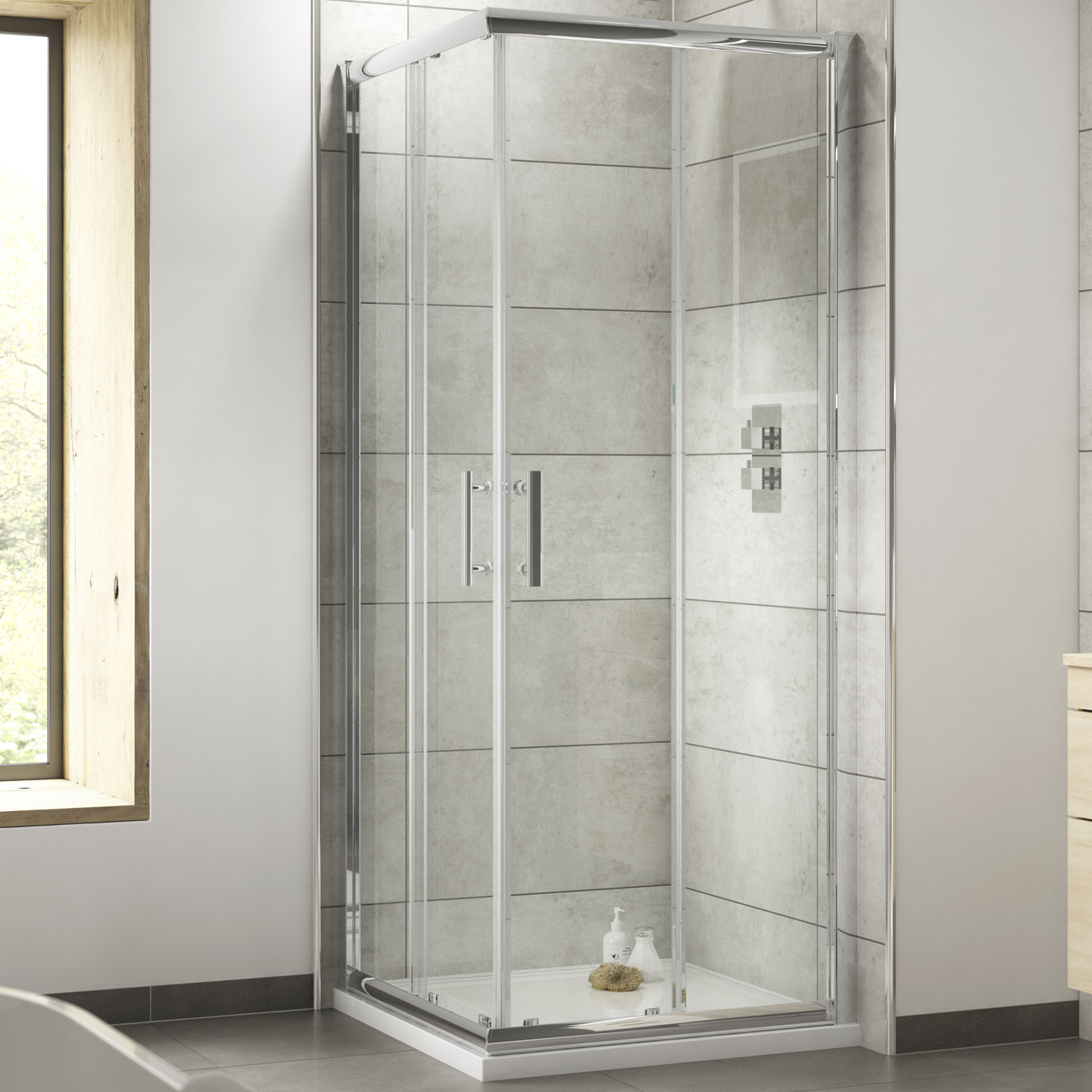 Premier Pacific Corner Entry Shower Enclosure 760mm x 760mm - 6mm Glass-2